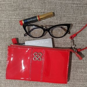 Coach Patent Red Leather Wallet, Wristlet